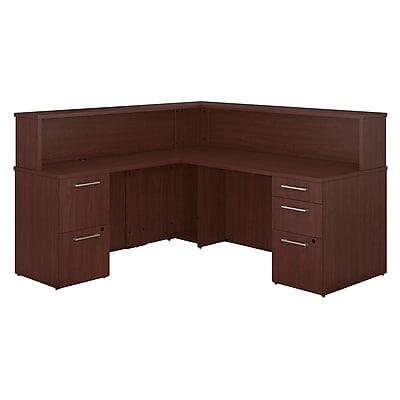 Bush Business Furniture Emerge L Shaped Reception Desk with 2 and 3 Drawer Pedestals Harvest Cherry 300S073CS