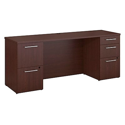 Bush Business Furniture Emerge 72 W x 22 D Desk with 2 and 3 Drawer Pedestals Harvest Cherry 300S033CS