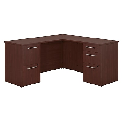 Bush Business Furniture Emerge 60 W x 22 D L Shaped Desk with 2 and 3 Drawer Pedestals Harvest Cherry 300S038CS