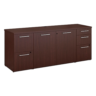 Bush Business Furniture Emerge 72 W x 22 D Storage Credenza Installed Harvest Cherry 300SCST72CSKFA