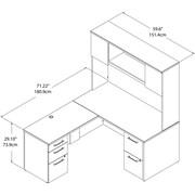 "Bush Business Furniture Emerge 60""W x 30""D L Shaped Desk with Hutch and 2 Pedestals, Mocha Cherry (300S103MR)"