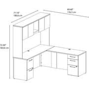 """Bush Business Furniture Emerge 72""""W x 22""""D L Shaped Desk with Hutch and 2 Pedestals - Installed, Harvest Cherry (300S061CSFA)"""