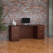 "Bush Business Furniture Emerge 72""W x 22""D Desk with 2 and 3 Drawer Pedestals - Installed, Harvest Cherry (300S033CSFA)"