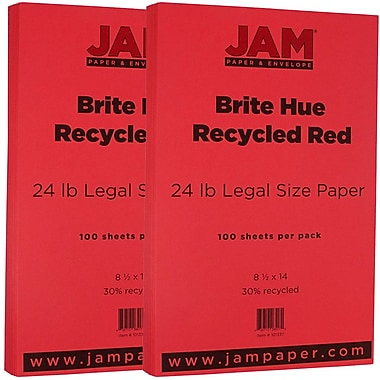 JAM Paper® Bright Color Legal Paper, 8 1/2 x 14, 24lb Brite Hue Red Recycled, 2 packs of 100 (101337g)