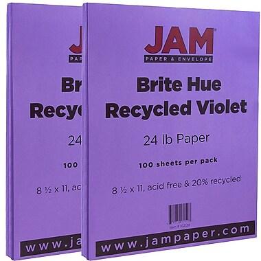 JAM Paper® Bright Color Paper, 8.5 x 11, 24lb Brite Hue Violet Purple, 2 packs of 100 (102129g)