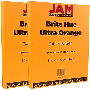 JAM Paper® Bright Color Paper, 8.5 x 11, 24lb Brite Hue Ultra Orange, 2 packs of 100 (102558g)