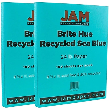 JAM Paper® Bright Color Paper, 8.5 x 11, 24lb Brite Hue Sea Blue Recycled, 2 packs of 100 (102657g)