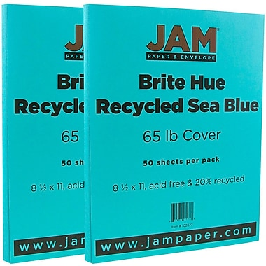 JAM Paper® Bright Color Cardstock, 8.5 x 11, 65lb Sea Blue Recycled, 2 packs of 50 (102677g)
