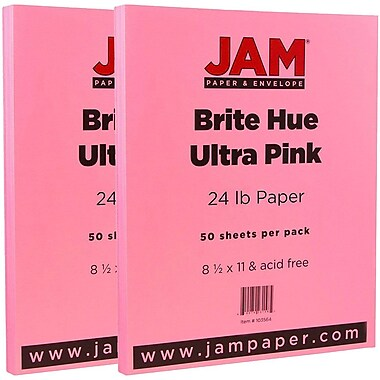 JAM Paper® Bright Color Paper, 8.5 x 11, 24lb Brite Hue Ultra Pink, 2 packs of 100 (103564g)
