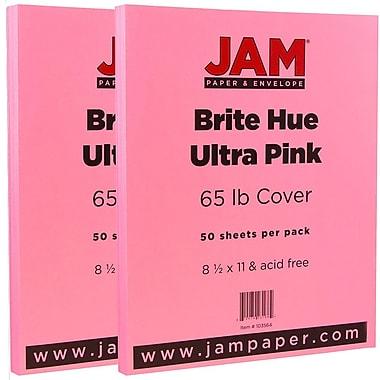 JAM PaperMD – Papier cartonné de couleur vive, 8 1/2 x 11 po, rose Ultra, paquet de 100