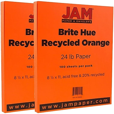 JAM Paper® Bright Color Paper, 8.5 x 11, 24lb Brite Hue Orange Recycled, 2 packs of 100 (103655g)