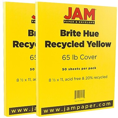 JAM Paper® Bright Color Cardstock, 8.5 x 11, 65lb Yellow Recycled, 2 packs of 50 (104018g)