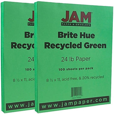 JAM Paper® Bright Color Paper, 8.5 x 11, 24lb Brite Hue Green Recycled, 2 packs of 100 (104083g)