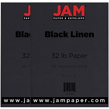 JAM Paper® Matte Paper, 8.5 x 11, 32lb Black Linen Recycled, 2 packs of 50 (11130g)