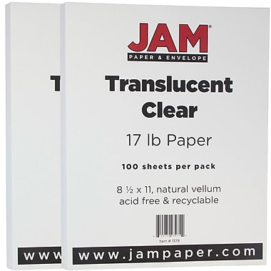 JAM Paper® Translucent Vellum Paper, 8.5 x 11, 17lb Clear, 2 packs of 100 (1379g)