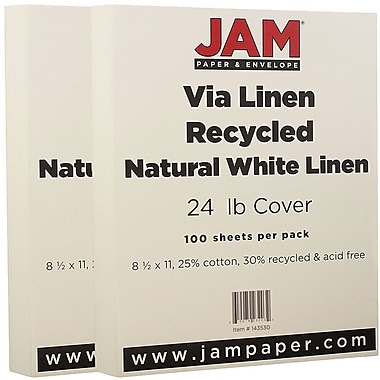 JAM Paper® Strathmore Paper, 8.5 x 11, 24lb Natural White Linen, 2 packs of 100 (143530g)