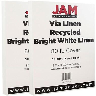 JAM PaperMD – Papier couverture cartonné recyclé, toilé, 8 1/2 x 11 po, blanc lumineux, 100 feuilles/paquet