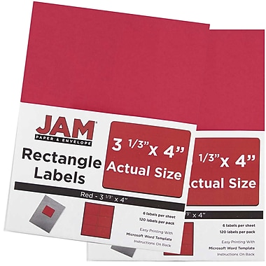 JAM Paper® Mailing Address Labels, 3 1/3 x 4, AstroBrights® Red, 2 packs of 120 (14516067g)