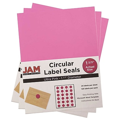 JAM Paper® Round Circle Label Sticker Seals, 1 2/3 inch diameter, Ultra Pink, 3 packs of 120 (147627062g)