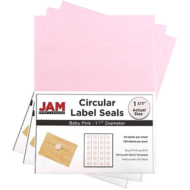 JAM Paper® Round Circle Label Sticker Seals, 1 2/3 inch diameter, Baby Pink, 3 packs of 120 (147628279g)