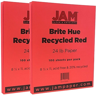 JAM Paper® Bright Color Paper, 8.5 x 11, 24lb Brite Hue Red Recycled, 2 packs of 100 (151023g)