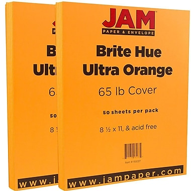 JAM PaperMD – Papier cartonné de couleur vive, 8 1/2 x 11 po, orange Ultra, paquet de 100