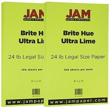 Jam PaperMD – 24 lb, papier de couleur vive Ultra, 8 1/2 x 14 po, vert lime, paquet de 200 feuilles