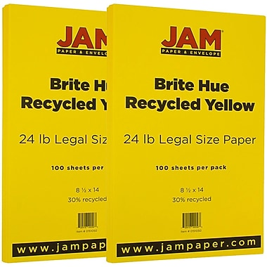 JAM Paper® Bright Color Legal Paper, 8 1/2 x 14, 24lb Brite Hue Yellow Recycled, 2 packs of 100 (151050g)