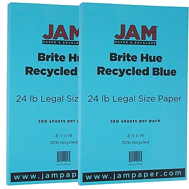JAM Paper® Bright Color Legal Paper, 8 1/2 x 14, 24lb Brite Hue Blue Recycled, 2 packs of 100 (151052g)