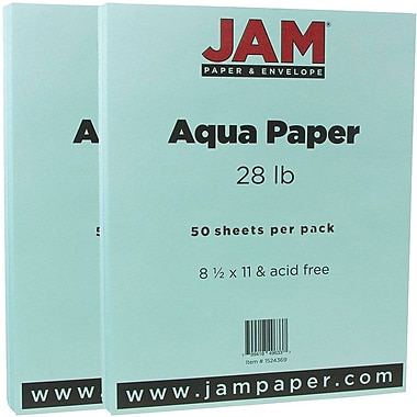 JAM Paper® Matte Paper, 8.5 x 11, 28lb Aqua Blue, 2 packs of 50 (1524369g)