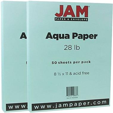 JAM Paper® Matte Paper, 8.5 x 11, 28lb Aqua Blue, 2 packs of 50 (1524369g)