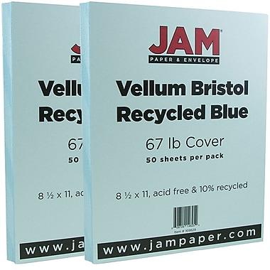 JAM Paper® Vellum Bristol Cardstock, 8.5 x 11, 67lb Blue, 2 packs of 50 (169820g)