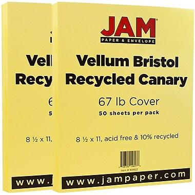 JAM PaperMD – Papier cartonné bristol, fini vélin, 8 1/2 x 11 po, canari, paquet de 100