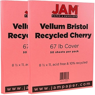 JAM Paper® Vellum Bristol Cardstock, 8.5 x 11, 67lb Cherry Red, 2 packs of 50 (169823g)
