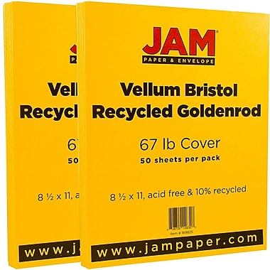 JAM Paper® Vellum Bristol Cardstock, 8.5 x 11, 67lb Goldenrod Yellow, 2 packs of 50 (169825g)
