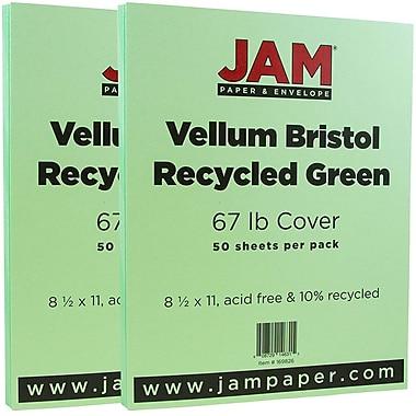 JAM Paper® Vellum Bristol Cardstock, 8.5 x 11, 67lb Green, 2 packs of 50 (169826g)