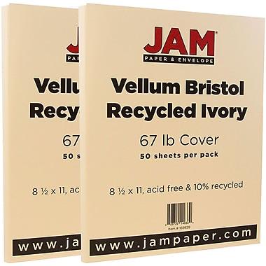 JAM PaperMD – Papier cartonné bristol, fini vélin, 8 1/2 x 11 po, ivoire, paquet de 100