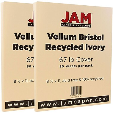 JAM Paper® Vellum Bristol Cardstock, 8.5 x 11, 67lb Ivory, 2 packs of 50 (169828g)