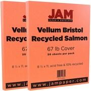 JAM Paper® Vellum Bristol Cardstock, 8.5 x 11, 67lb Salmon Pink, 2 packs of 50 (169832g)