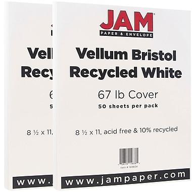 JAM Paper® Vellum Bristol Cardstock, 8.5 x 11, 67lb White, 2 packs of 50 (169834g)