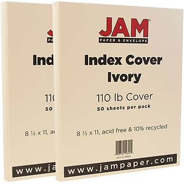 JAM Paper® Vellum Bristol Index Cardstock, 8.5 x 11, 110lb Ivory, 2 packs of 50 (169851g)