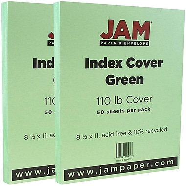 JAM Paper® Vellum Bristol Index Cardstock, 8.5 x 11, 110lb Green, 2 packs of 50 (169852g)