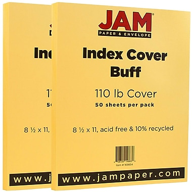 JAM Paper® Vellum Bristol Index Cardstock, 8.5 x 11, 110lb Buff Ivory, 2 packs of 50 (169854g)
