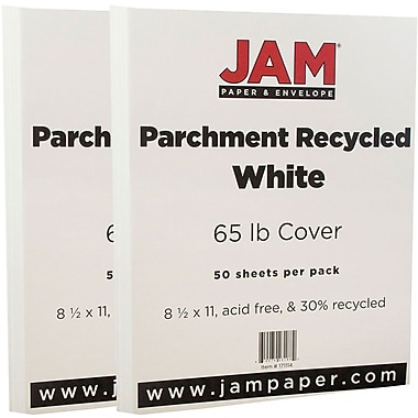 JAM Paper® Parchment Cardstock, 8.5 x 11, 65lb White Recycled, 2 packs of 50 (171114g)