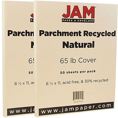 JAM Paper® Parchment Cardstock, 8.5 x 11, 65lb Natural Recycled, 2 packs of 50 (171116g)