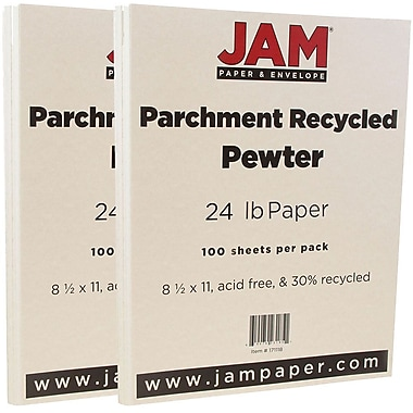 JAM Paper® Parchment Paper, 8.5 x 11, 24lb Pewter Recycled, 2 packs of 100 (171118g)