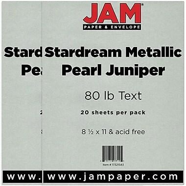 JAM Paper® Metallic Paper, 8.5 x 11, 80lb Stardream Pearl Juniper, 2 Packs of 20 (17321543g)