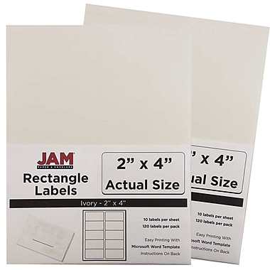 JAM Paper® Mailing Address Labels, 2 x 4, Ivory, 2 packs of 120 (17966070g)