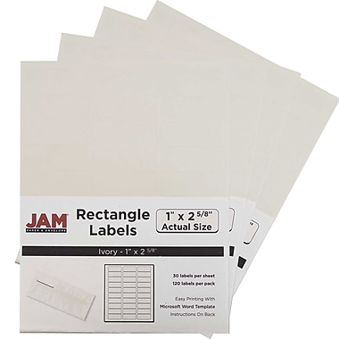 JAM Paper® Mailing Address Labels, 1 x 2 5/8, Ivory, 4 packs of 120 (17966071g)