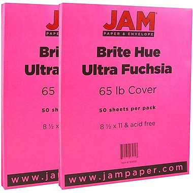 JAM Paper® Bright Color Cardstock, 8.5 x 11, 65lb Ultra Fuchsia Pink, 2 packs of 50 (184851g)